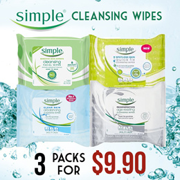 [1+1+1 Promo] Simple Facial Cleansing Wipes 25s - 4 Types (Made IN UK)