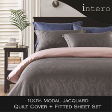 Intero 100% Modal Jacquard Quilt cover with bedsheet pillow bolster case  (Dark Grey/ Mauve Rose)