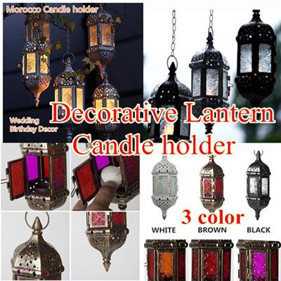Candle holder Morocco Home Decor Vintage Metal Hollow Glass Light Holder  Decorative Lantern wedding