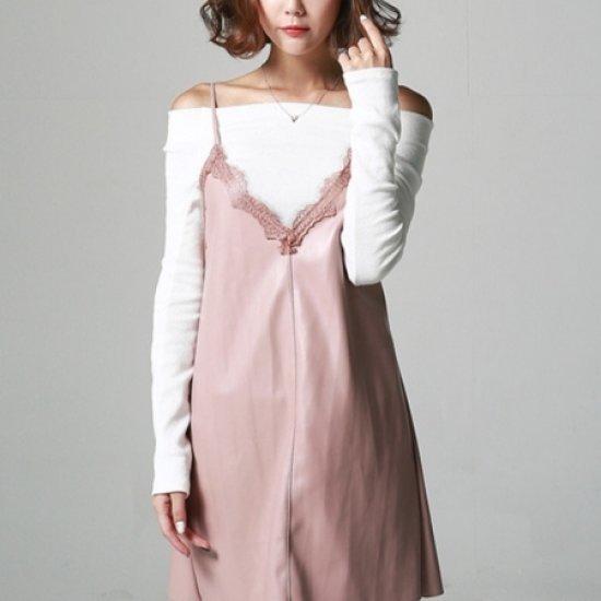 [送料無料]三女子モール三女子モール、イッツレースのワンピースHS10634/シフォン/レースのワンピース/ 韓国ファッション