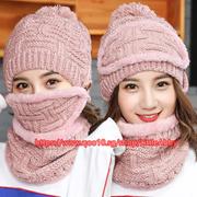 3Pcs in 1 Knit Cap Scarf Cap two-piece Winter Hats Women Winter Beanie Fleece Hat Neck Warmer