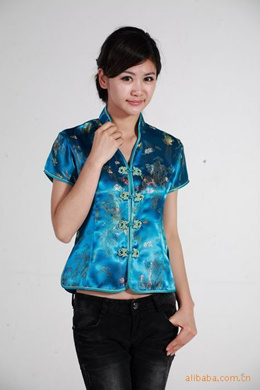 plus size cheongsam Cheongsam Tang suit / V short sleeve TOP JY044-4