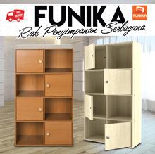 Funika 11237 - Rak Penyimpanan dengan Pintu - Coklat Muda dan Coklat Tua