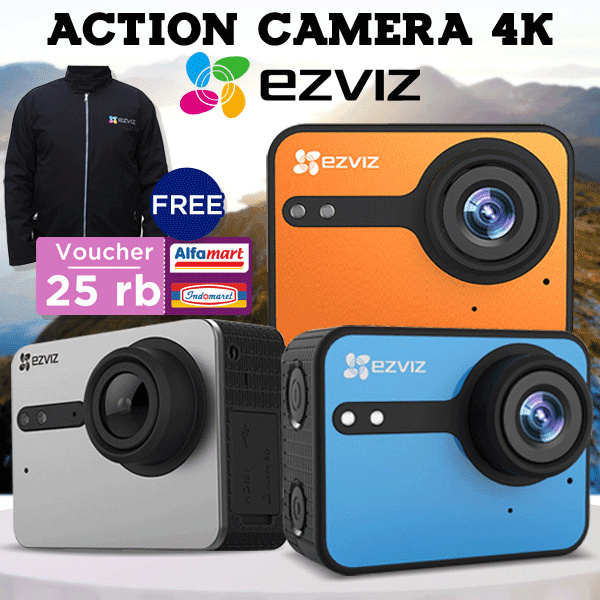 [FREE jaket BOMBER + VOUCHER belanja 25K] EZVIZ Action Camera 4K | Only 100pcs