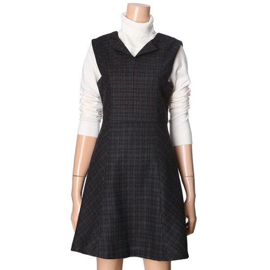 ・ビジット・インニューヨークチェックナシワンピースVSCOP33 面ワンピース/ 韓国ファッション