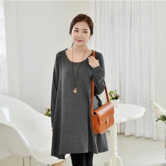 妊婦服・ドット・コムビックサイズ妊婦服ダッシュワンピース 綿ワンピース/ 韓国ファッション