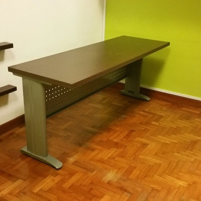 pretty nice c2f89 5a7c7 [US$109.19][Custom made] Long Study Table with Stylish I-legs and Front  Perforated Modesty Panel