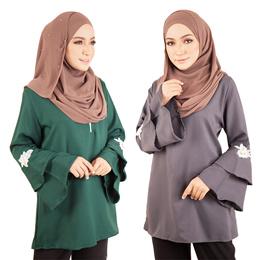 Front Zip Plus Size Classy Top / Muslimah Blouse [M12215]