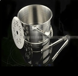 Thick stainless steel ice bucket with Ice wines double insulation ice bucket with portable ice wine