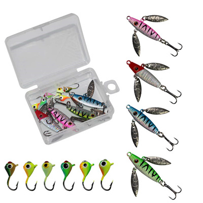LikeFish Ice Fishing Jigs with Treble Hooks Lead Jig Hooks Winter Metal  Lures