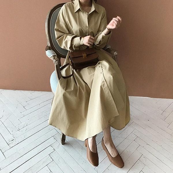 [送料無料]★韓国ファッション通販業界1位 『Naning9』★ソトゥロヌフレアシャツ、ロングワンピース/ おしゃれなシルエットのファッションコーデー提案!ハイクォリティー/韓国ファッション/オフ