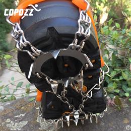 Copozz Outdoor Sports Anti-Slip Crampons 19-Teeth 2 Size Ice Walk Gripper Cleats Winter Shoe Stainle