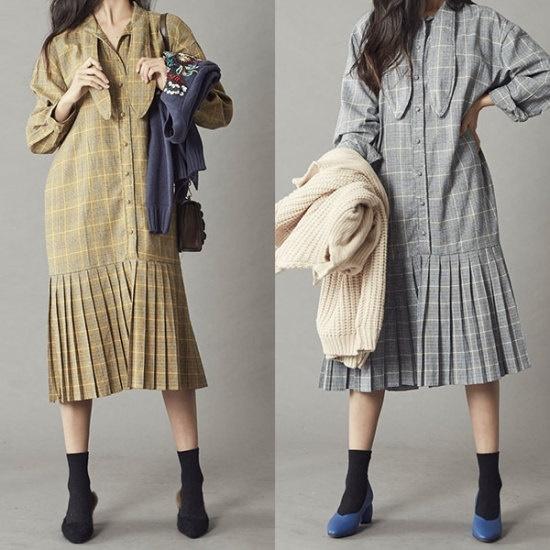 ブルランチョチェックワンピースop01820 綿ワンピース/ 韓国ファッション