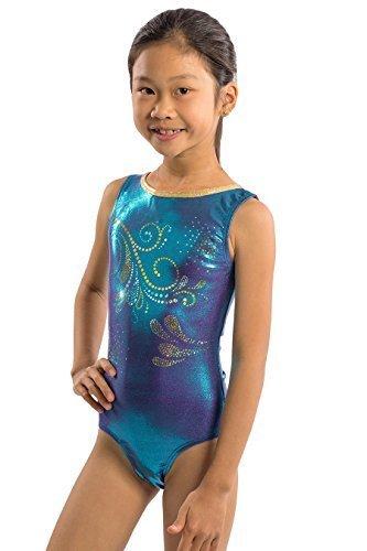 f869f7d2b Qoo10 - Girls Gymnastics Leotard in Purple Blue Jewel Fabric with ...