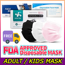 ⭐FREE SHIPPING⭐3-Layer Face Mask 50pcs / Black White Blue Pink / Adult Kids / Qoo10 Lowest Price