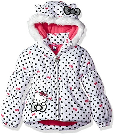 f05386a63 Hello Kitty Big Girls All Over Printed Puffer Jacket with Fur Trim Hood,  White,