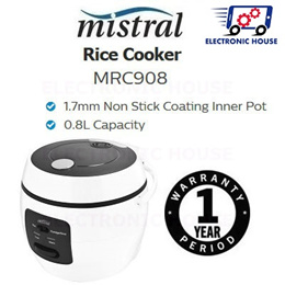 ★ Mistral MRC908 0.8L Rice Cooker ★ (1 Year Singapore Warranty)