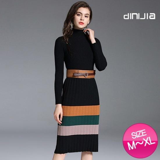 ハッパブントラインワンピースSD6382 綿ワンピース/ 韓国ファッション