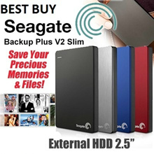 SeaGate Backup Plus V2 Slim USB 3.0 (1 TB) / (2 TB) External HDD 2.5 Inch. The Slimmest Portable Hard Disk. Back Up Your Stuff Anytime Anywhere. International 3 Years Warranty.