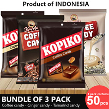 Get 3Packs] Best Selling Coffee Candy_Ginger Candy_Tamarind Candy_3 x 50pcs_Product of Indonesia