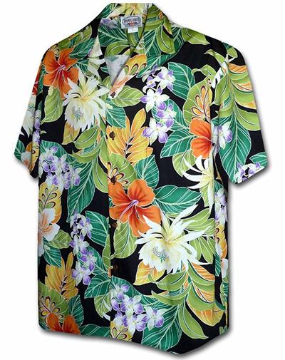 1438a238 Pacific Legend Tropical Floral Cereus Plumeria Hibiscus Hawaiian Shirt
