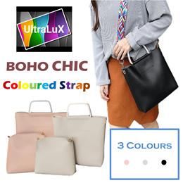 ❤️BOHO CHIC❤️Coloured Strap Bag With Mini Case / Pouch Casual But Elegant Shoulder Sling Makeup Handbag Working Office Totebag OL Lady Bag Clutch 3 Colours Premium Quality