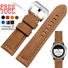Top-grain Italian Leather Watch Strap《Panerai-style》Blue Red Khaki Black 《Fits iWatch Fenix Gear S3》