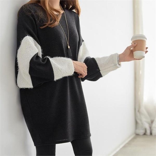 ピピンポイス小売ダンカラポイントワンピース34870 無地ワンピース/ワンピース/韓国ファッション