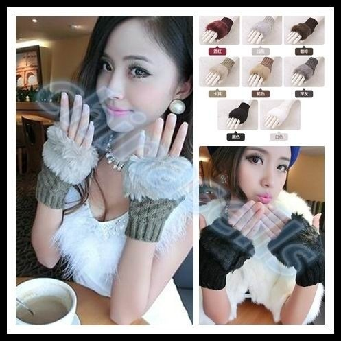 6pairs woman elasticity winter hand warmer fingerless gloves knitted fur trim keyboard gloves mitten Deals for only S$30.72 instead of S$0