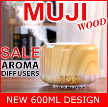 FREE ESSENTIAL OIL ★ NEW MUJI WOOD 600ML Ultrasonic Diffuser ★ 30 Latest Design to Choose Inside★