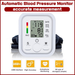 Automatic Arm Blood Pressure Monitor Portable LCD Screen Irregular Heartbeat Monitor