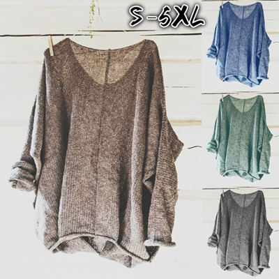 1a4783185ae78f Women Knitting Sweaters Long Sleeve V-neck Loose Casual Pullovers Plus Size  Tops WZB9640
