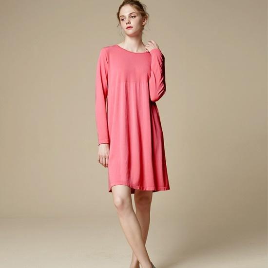 セカンドスキンルーズフィットロングスリーブミディドレスN6WFD5001EB 面ワンピース/ 韓国ファッション