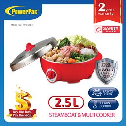 PowerPac Electric Steamboat Hot Pot with 304 S/Steel inner pot 2.5L(PPEC811)