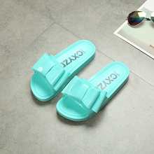 2017 Summer new ladies cool slippers jelly shoes home outdoor bathroom big butterfly knot thick bott
