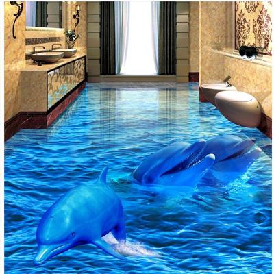 3d Dolphin Sea World Floor Mural Photo Flooring Wallpaper Wall Ceiling Decal Print Decal 3d Pvc Floo