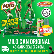 MILO Can Original x 48 cans (240ml) FREE DELIVERY!! ($34 After $6 Coupon!)
