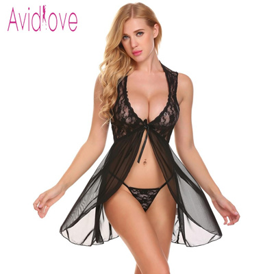 c46413dc8 Avidlove Lingerie Sexy Hot Erotic Nighty Baby Doll Nightdress Women Floral  Lace Oepn Front Nightwear