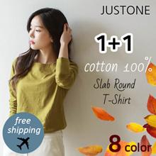 [JUSTONE💞] Cotton 100% Slab Round T-shirt / Cotton 100% / 8 Color
