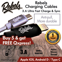 3A ultra fast charging REBELS cable. APPLE IOS / ANDROID / TYPE-C 1M/2M
