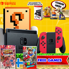 New Nintendo Switch Super Mario Odyssey Bundle + Street Fighter II + Snakebyte StarterPack (Accessories Kit) + 3 x Amiibo Figurines! Local Stocks and Warranty!