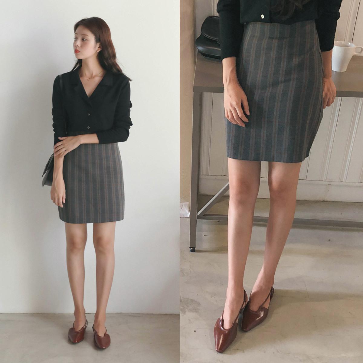 [CHERRYKOKO官方旗艦店]後拉鍊內襯格紋短裙