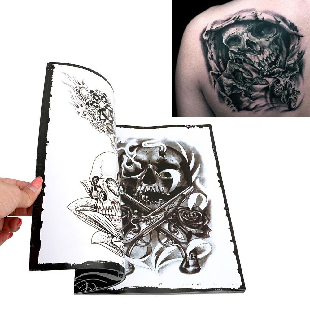 76 Halaman A4 Dipilih Tengkorak Desain Sketsa Buku Flash Tattoo Membuat Perlengkapan Seni LON