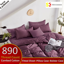 890 Thread Count~100% Combed Cotton Bedsheet Set 【Variety Color】