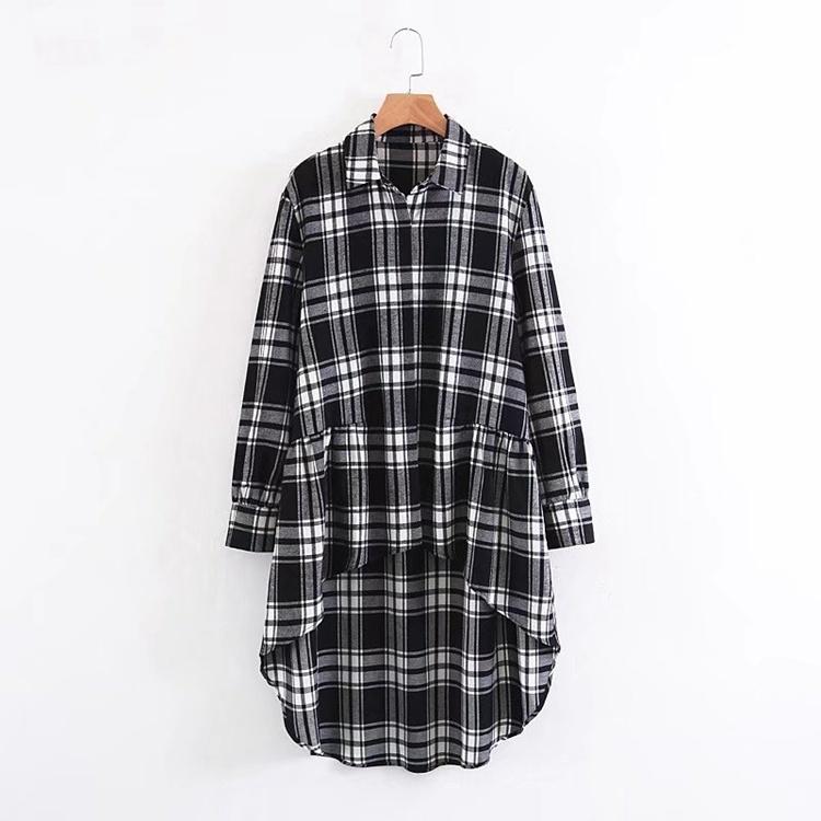 2017秋冬服新型、欧米のファッション的なゆったり中に長い格子のワイシャツの長袖のワイシャツ