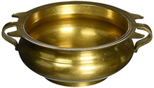 AONE INDIA Religious Gifts Ideatraditional Brass Vessel Bowl Urli Indian Decor 2.5 Inches + Cash Env