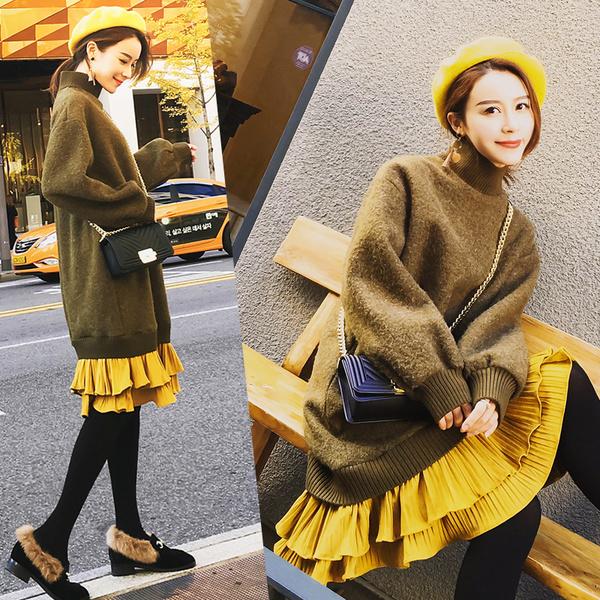 レディースドレスウールワンピースタートルネックロングセーター大きいサイズ 小さいサイズ秋冬
