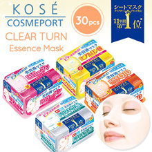 Kose Clear Turn Essence Facial Mask 30pcs - 6 Different Types to Choose