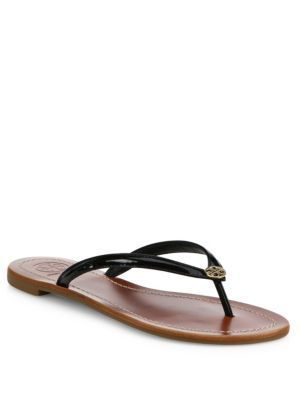 d20e838fc076 Qoo10 - Tory Burch Terra Patent Leather Thong Sandals   Shoes