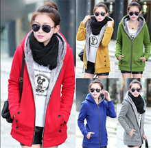 Plus Size*Autumn and Winter Korean women loose hooded cardigan/Hoodie Jacket female long section of young students